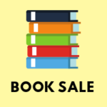 Stack of Books Book Sale on Yellow Background